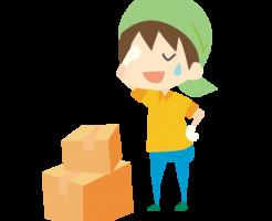 荷物を梱包する男性