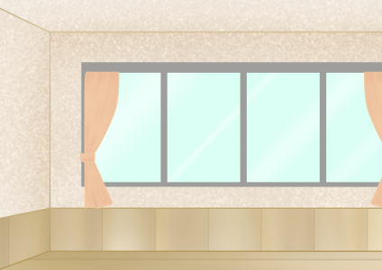 カーテン付き窓