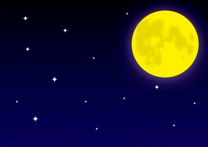 深夜の月と星