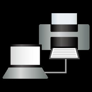 ノートパソコンとプリンター