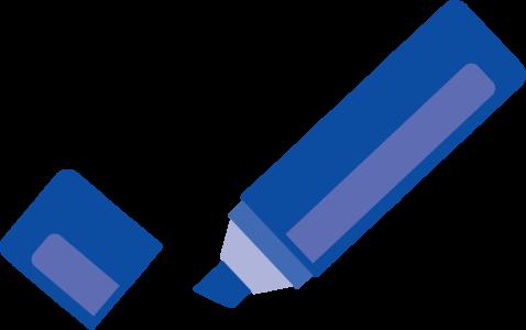 青いフェルトペン