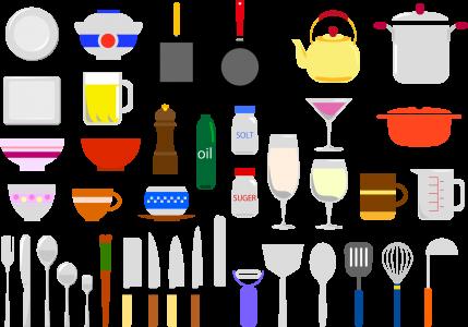 食器棚の中の台所用品