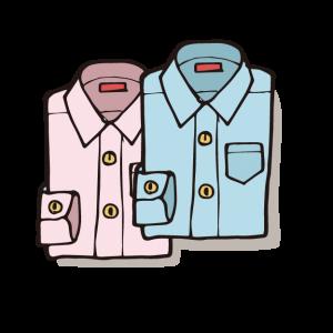 ピンクと水色のワイシャツ